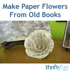 This is a guide about making paper flowers from old books. An interesting way to recycle discarded books that creates beautiful decorations.