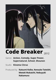 Manga Anime, Otaku Anime, Good Anime To Watch, Anime Love, Anime Sites, Poster Anime, Anime Cover Photo, Code Breaker, Anime Suggestions