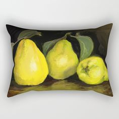 Quinces the fruit of love Rectangular Pillow by evaleowei Yellow Theme, Lumbar Pillow, Accent Decor, Autumn, Pillows, Fruit, Poplin Fabric, Painting, Zipper