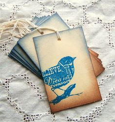 Blue Bird Two Toned Tags