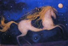 A Catherine Hyde illustration for Saviour Pirotta's Firebird (Templar 2010). Prince Ivan and Princess Helen ride the horse with the golden mane.