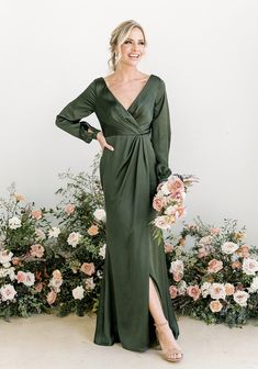 Forest Green Bridesmaid Dresses, Bridesmaid Dresses With Sleeves, Mother Of Groom Dresses, Mob Dresses, Satin Dresses, Wedding Dresses, Bridesmaids, Dressy Dresses, Sage Green Dress