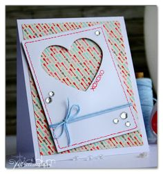 Sylvia Blum: {Sylvias Stamping Place} – XOXOXO - Valentine's Card - 2/8/14.  (CAS-ual Fridays Stamps: Love Notes. CAS-ual Fridays Dies: Heart Board Fri-Dies.  Papers - Echo Park: Head Over Heels 6x6 pad).