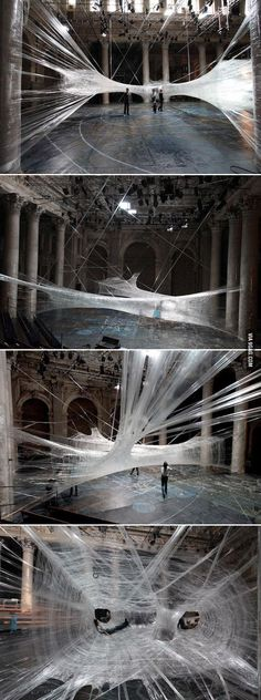 Packing Tape Spiderweb Installation by Viennese/Croatian design collective For Use/Numen. - 21 Works of art using office supplies Land Art, Modern Art, Contemporary Art, Art Public, Instalation Art, 3d Fantasy, Wow Art, Art Plastique, Psychedelic Art