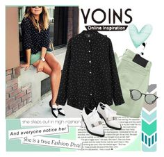"""""""Yoins Polka Dot"""" by gabygirafe ❤ liked on Polyvore featuring INDIE HAIR, Religion Clothing, Ray-Ban, women's clothing, women, female, woman, misses, juniors and yoins"""