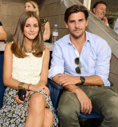 Olivia Palermo and Johannes Huebl  at The 2012 US Open Moet & Chandon Suite