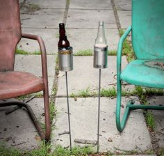 Hobo Tin Can Beer Holders 1 - the semi-perfect solution to the fact that my water bottles won't fit in the cup holder on my folding chair. KW