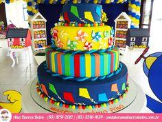 Bolo especial de Aniversário por Ana Barros Bolos com cataventos, pipas e muito colorido!