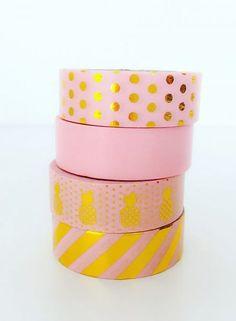 Masking tape foil pink stripe gold