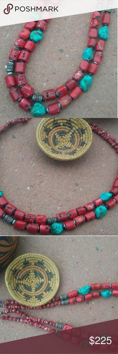 """Reserved Listing for Laura💕 A beautiful combination of natural red coral and turquoise with sterling silver beads...2 gorgeous strands hanging 22"""" in length and turquoise necklace with sterling silver drums on each side...24"""" in length. Jewelry Necklaces"""