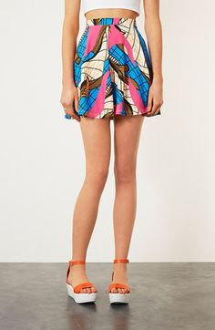Topshop Fluorescent Print Skater Skirt available at #Nordstrom