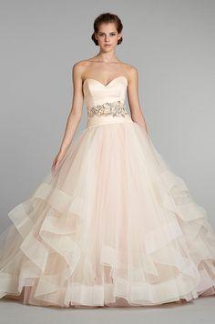 A blush pink #wedding dress from Lazaro, Fall 2012