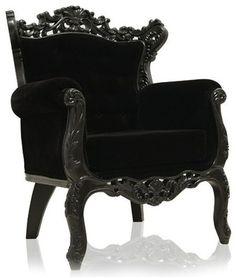 Black Hollywood Regency Skull Skeleton King Chair Gothic