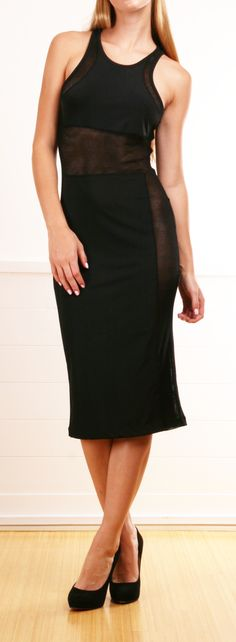 T by Alexander Wang black stretch maxi dress- a few easily removable smudges towards bottom of dress. Body: 71% nylon, 29% elastane. Combo: 100% viscose. Mesh panels at back, arms, waist and down sides.