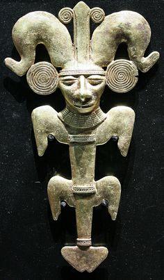 Pendant, tumbaga, Tairona culture, Colombia,