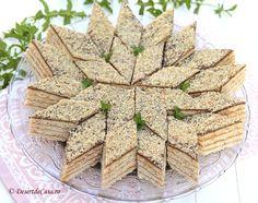 Prajitura cu nuca si caramel este un desert aromat , delicios si nelipsit de la mesele festive. Foi fragede cu nuca , crema caramel si decor cu nuca