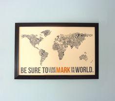 I want this for my classroom:  Fingerprint World Map - Original Screenprint Poster. $18.50, via Etsy.