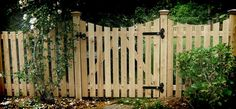 Emblem White Privacy Vinyl Fence Wood Fence - Flat Board Cedar Picket with Sawn Scallop Picket Fence Gate, Cedar Fence, White Picket Fence, Wood Fences, Fencing, Fence Around Pool, Natural Fence, Fence Styles, Wooden Gates
