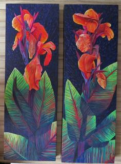 Roz Edwards.....  on blog Rozartz Contemporary floral paintings: Painting Canna Lilies.  Step by Step