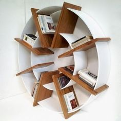 DIY Shelves Trendy Ideas : Villa Home Collection Wood Furniture, Modern Furniture, Furniture Design, Bookcase Shelves, Shelving, Round Bookshelf, Round Shelf, Bookshelf Styling, Bookcases