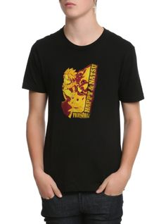 Black T-shirt from Fairy Tail with a Happy & Natsuu design. dry  lowImportedListed in men's sizes