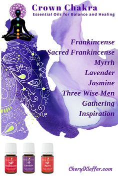 The CROWN CHAKRA – Center of spirituality and enlightenment;   Single Oils Franincense Sacred Frankincense Myrrh Lavender Jasmine Blends Three Wise men Gathering Inspiration Apply to top of head