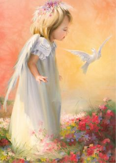 Angel girl with white dove.
