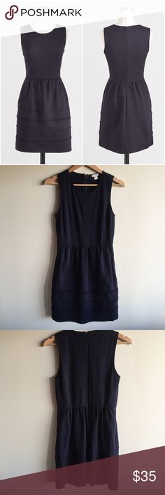 "J. Crew pintuck ponte dress in navy blue Gorgeous little dress from J. Crew factory in dark navy. Measures 17"" from underarm to underarm and 36"" long. Fabric does stretch. Back zip. Viscose/nylon/spandex. Falls above knee. Machine wash. Great condition! J. Crew Dresses"
