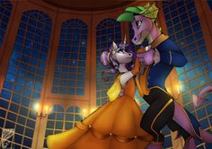 #922563 - artist:casynuf, beauty and the beast, clothes, crossover, curved horn, dancing, disney, disney style, dress, older, older spike, rarity, safe, shipping, sparity, spike, straight, style emulation, style parody - Derpibooru - My Little Pony: Friendship is Magic Imageboard