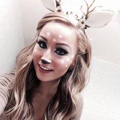 8 pretty halloween makeup ideas - doe-eyed deer with an antler + ear headband