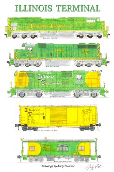 6 hand drawn Illinois Terminal drawings by Andy Fletcher