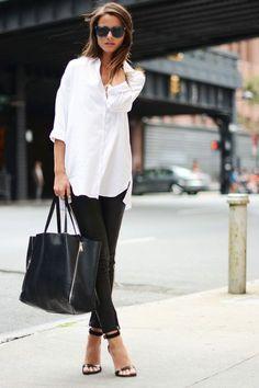 Women's spring fashion white loose blouse T shirt+black skinny jean pants.