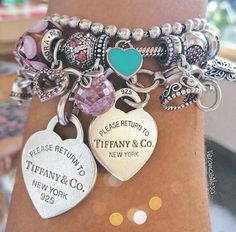 Discount Jewelry ♥ Tiffany AND Pandora! My favs! Tiffany Jewelry, Tiffany Bracelets, Tiffany Necklace, Pink Jewelry, Wrap Bracelets, Charm Bracelets, Bangles, Pandora Beads, Pandora Bracelet Charms