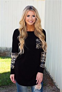 Brown & Black Sequin Aztec Tunic Top - Black www.southernfriedchics.com Use the code AlMit15 for 15% off!