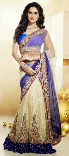 Incredible beige and blue color net party wear lehenga choli. Make the heads turn when you dress up in this wonderful beige and blue color net party wear lehenga choli. Lehenga Choli Wedding, Lehenga Style Saree, Party Wear Lehenga, Lehenga Choli Online, Indian Lehenga, Lehenga Saree, Bridal Sarees, Anarkali Suits, Bridal Gowns