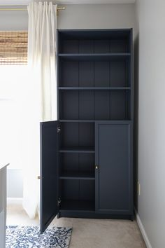 IKEA Billy Bookcase Hack with Shiplap How to transform an IKEA Billy bookcase with shiplap and paint! Add pretty and functional storage with this IKEA Billy bookcase hack! This budget friendly DIY project is a great way to add extra storage to your office Billy Regal Hack, Ikea Billy Hack, Ikea Billy Bookcase Hack, Billy Bookcases, Billy Bookcase Office, Billy Bookcase With Doors, Bookcase Bar, Bookcase Storage, Ikea Hack Storage