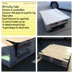 DIY Coffee Table from Wood Pallets @Lori Bearden Eagan Mojica this one is good too @Kelly Teske Goldsworthy Davila