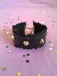 Black Pastel goth spiked cuff with scalloped suede by BlakBunni, $7.60