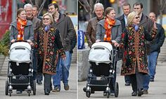 The Clintons looked to be in high spirits following the news that Chelsea is expecting a second child, with the family smiling and waving at passers-by during their walk through Manhattan on Sunday.