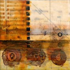 Circular Foundation, encaustic with mixed media, Pam Nichols
