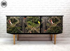 Stunning Professionally Upcycled Mid Century Sideboard Geometric Tropical Art  | eBay