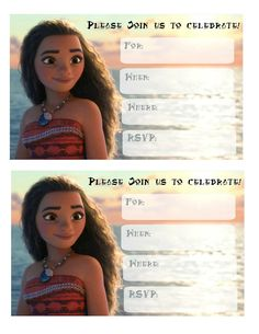 free printable Moana invitations