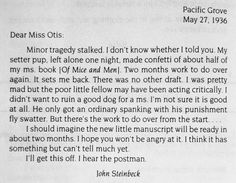 """Never forget that John Steinbeck, who was born on this day in 1902, totally used the """"dog ate my homework"""" excuse!"""