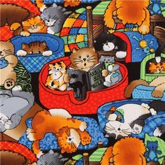 funny comic cats fabric by Timeless Treasures USA