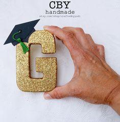 4 Inch GOLD cardboard graduation monogram letter; graduation party decorations; graduation gift by CraftedByYudi on Etsy