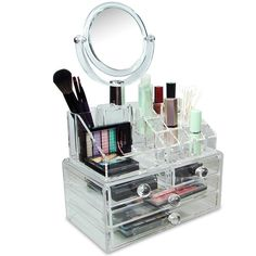Keep your cosmetics and accessories easily accessible and organized with this extensive cosmetic makeup organizer. Made of premium quality acrylic, this organizer includes a detachable two-sided, 4-inch diameter, circular mirror and more.