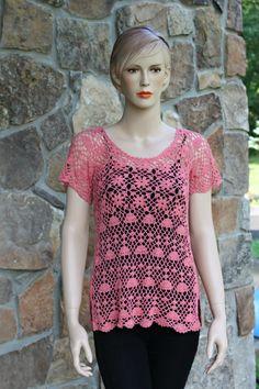 Peach Crochet Lace Blouse by CasadeAngelaCrochet on Etsy, $81.00