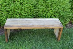 This is a beautiful 3 tone aged wood parsons style wooden bench. The wood used is a combination of old cedar, pine, and douglis fir. Each board came
