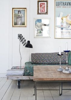 This bright and cheery room is chock full of fun decor ideas. How cool is that seating option? Could be a great DIY!