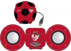 """TIF8 SPEAKER ROSSO/NERI  Speaker in plastica TIF8 colore rosso e nero per PC con attacco USB all'interno un disegno del diavolotto e scritta """"FORZA ROSSO NERI."""